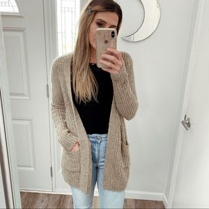 Tan Mossimo Chunky Knit Cardigan with Pockets